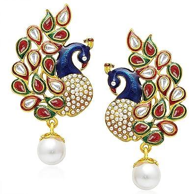 YouBella Stylish Fancy Party Wear Jewellery Gold Plated Drop Earrings for  Women (Blue) (YBEAR_31056)