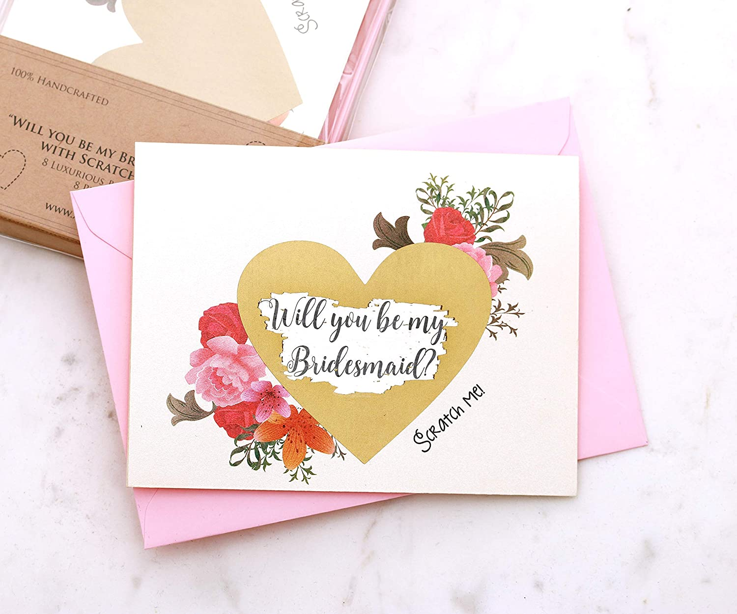 Will You Be My Bridesmaid Scratch-Off Card Maid of Honor Proposal Card Floral Wedding Invitation