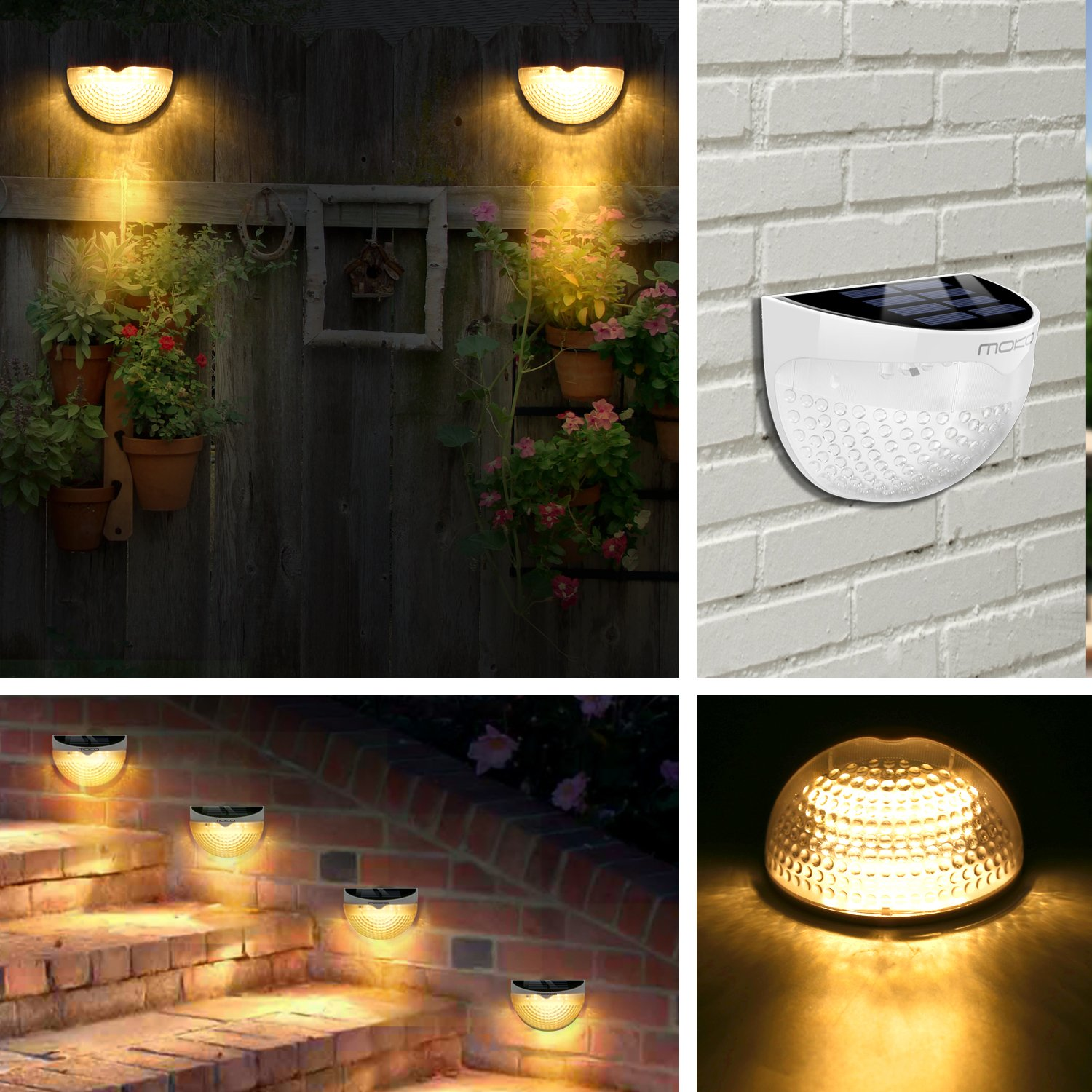 Yard Patio White Deck MoKo Outdoor Waterproof Solar Powered Security Lamp Solar Lights Driveway Garden Wall-Mounted 6 LED Decorative Step Lights with Auto Sensor for Pathway 4PCS