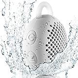 Gshine Waterproof Speaker-01 Siren WS-01 Driver Portable Speakers, Bluetooth Shower Speaker for Outdoor/Indoor/Bathroom with Built-in Microphone and Hook, White, 5W