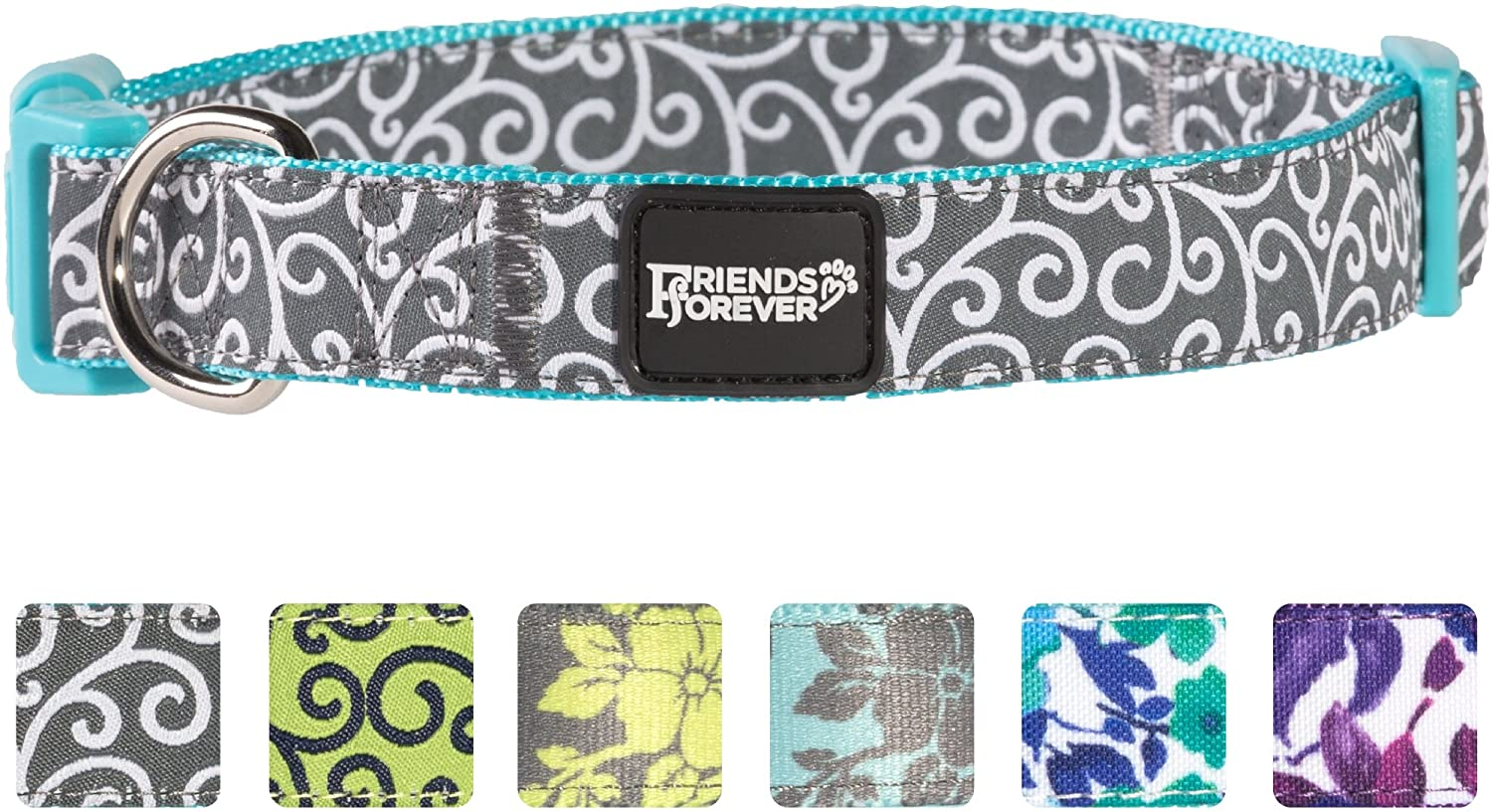 Curve bluee Small 11-16\ Curve bluee Small 11-16\ Friends Forever Dog Collar for Dogs, Fashion Floral Pattern Cute Puppy Collar, bluee Small 11-16