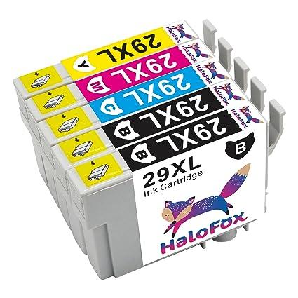 HaloFox 5 Cartuchos de Tinta 29 XL Combo para Epson 29XL Negro / Magenta / Cian / Amarillo Compatible para Expression Home XP-235 XP-335 XP-445 XP-442 ...