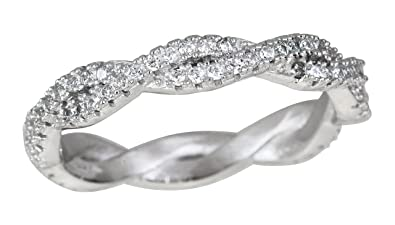 aa739ea6c2e42 Decadence Sterling Silver Cubic Zirconia Twist Weave Eternity Band Stack  Ring