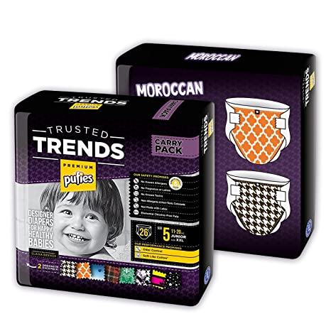 Pufies Trusted Trends Moroccan - 52 Pañales, talla 5, 11-20 kg