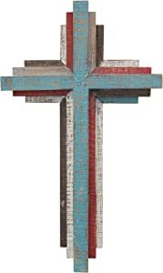 "Stonebriar Accents of Faith 14"" 3D Multicolor Wooden Wall Cross"