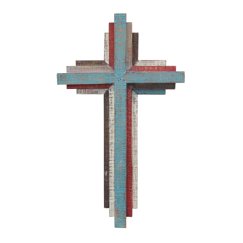 Mehrfarbig Stonebriar Accents of Faith 3D-Wandkreuz aus Holz 35,6 cm
