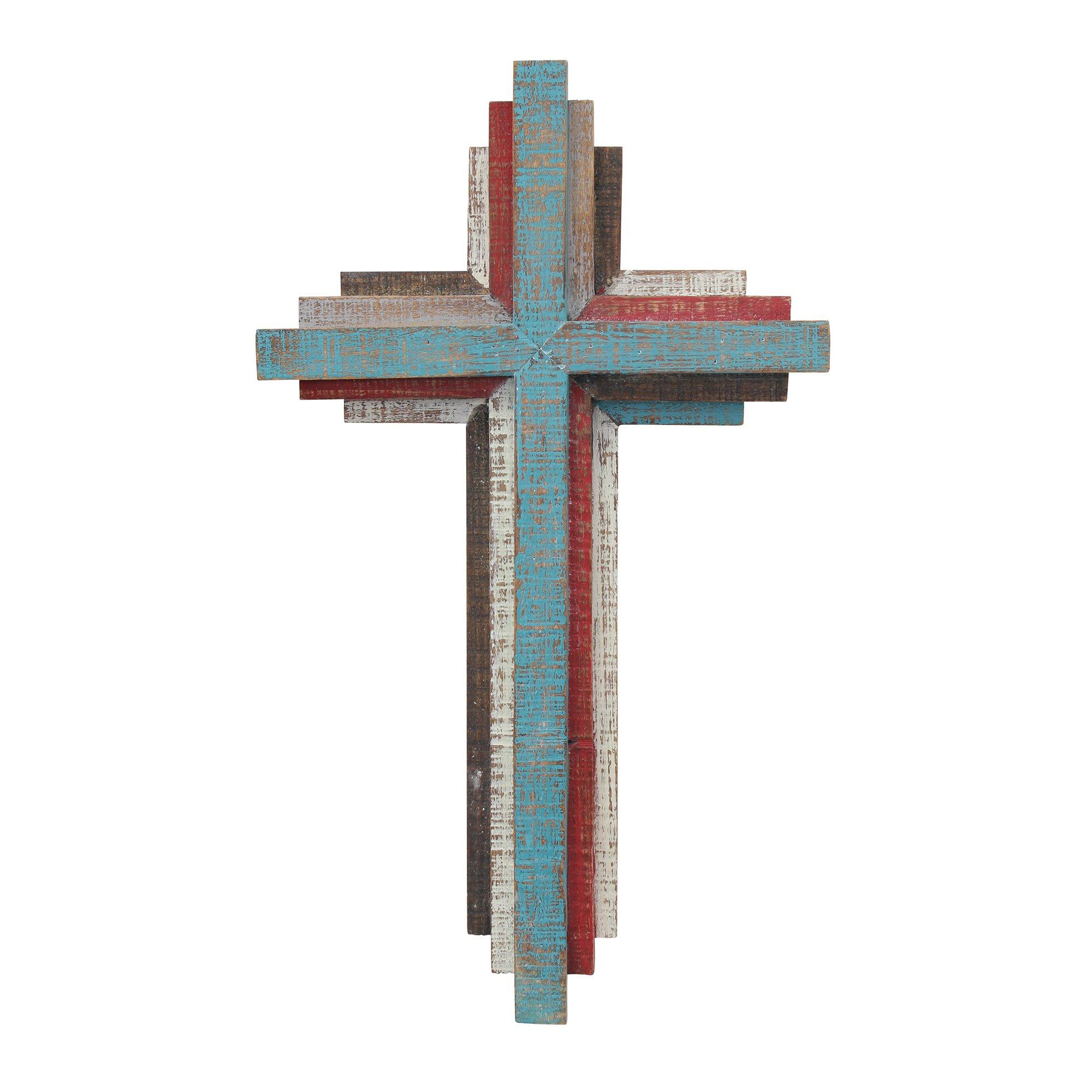 Stonebriar SB-6001A Accents Faith 14'' 3D Multicolor Wooden Wall Cross