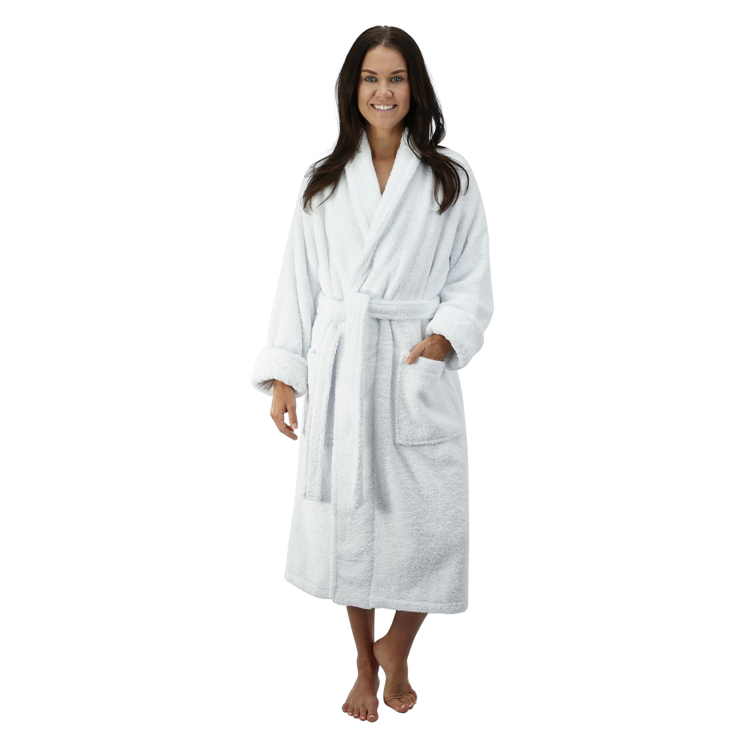 Comfy Robes Women's Deluxe 20 oz. Turkish Terry Bathrobe, S/M White by Comfy Robes (Image #1)