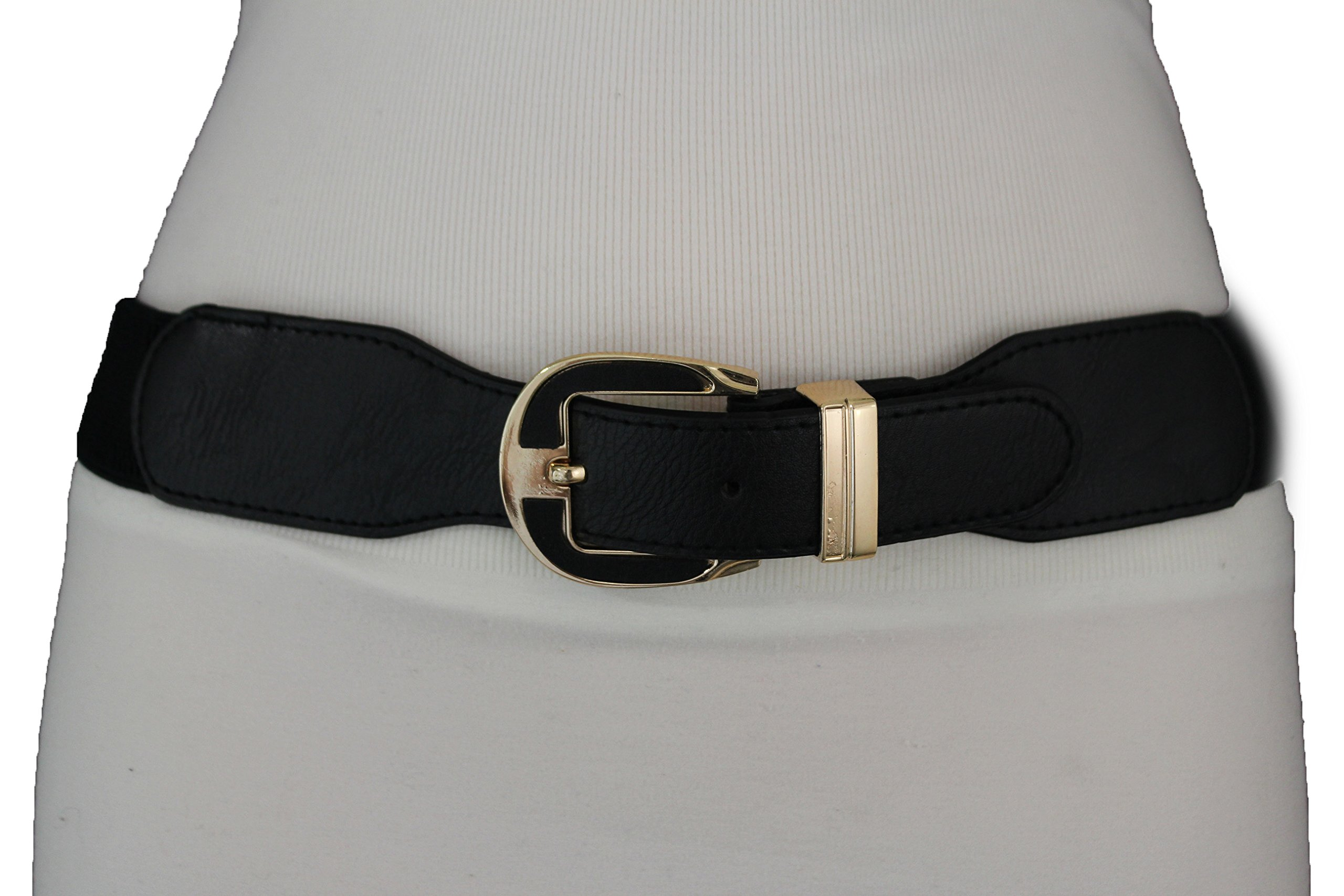 TFJ Women's Elastic Fashion Belt Hip High Waist Gold Buckle Plus Size M L Xl Black