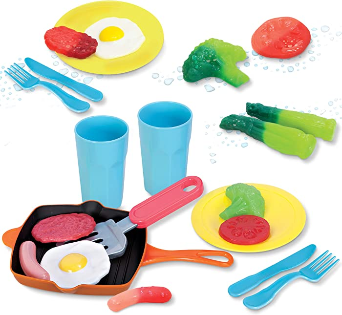 Kidzlane Kitchen Play Food and Dishes Set | 22 Piece Water Activated Color Changing Pretend Food Toy Set for Toddlers and Kids | Dinner Plastic Food Set