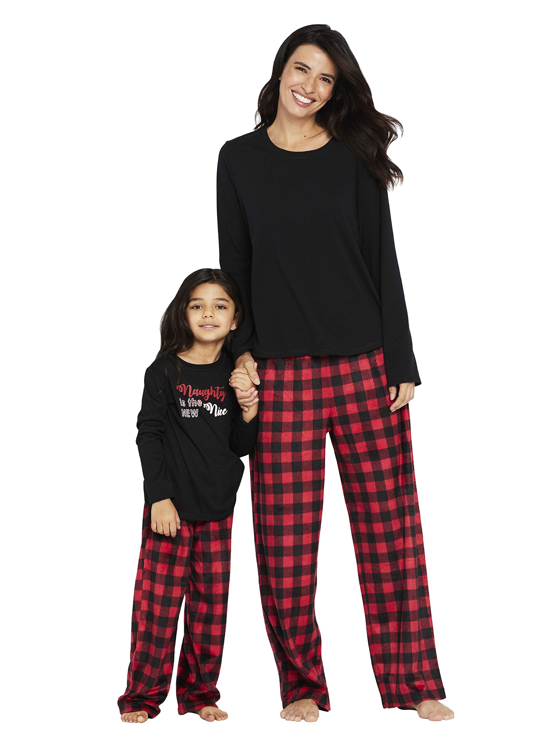 Karen Neuburger Girls' Little Family Matching Christmas Holiday Pajama Sets PJ, Buffalo Plaid red Cherry/Black Combo, Kid M by Karen Neuburger (Image #4)