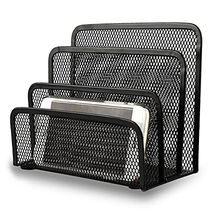 Amazon Com Desk File Organizer Anumit Desk Mail Organizer Small Letter Sorter Desktop Paper Organizer Metal Mesh With 3 Vertical Upright Compartments