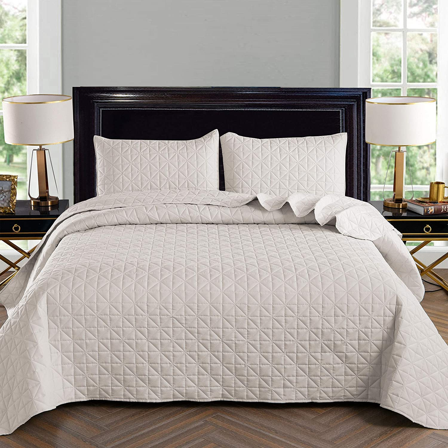 Exclusivo Mezcla 3-Piece Queen Size Quilt Set with Pillow Shams, as Bedspread/Coverlet/Bed Cover(Grid Weave Bone) - Soft, Lightweight, Reversible& Hypoallergenic