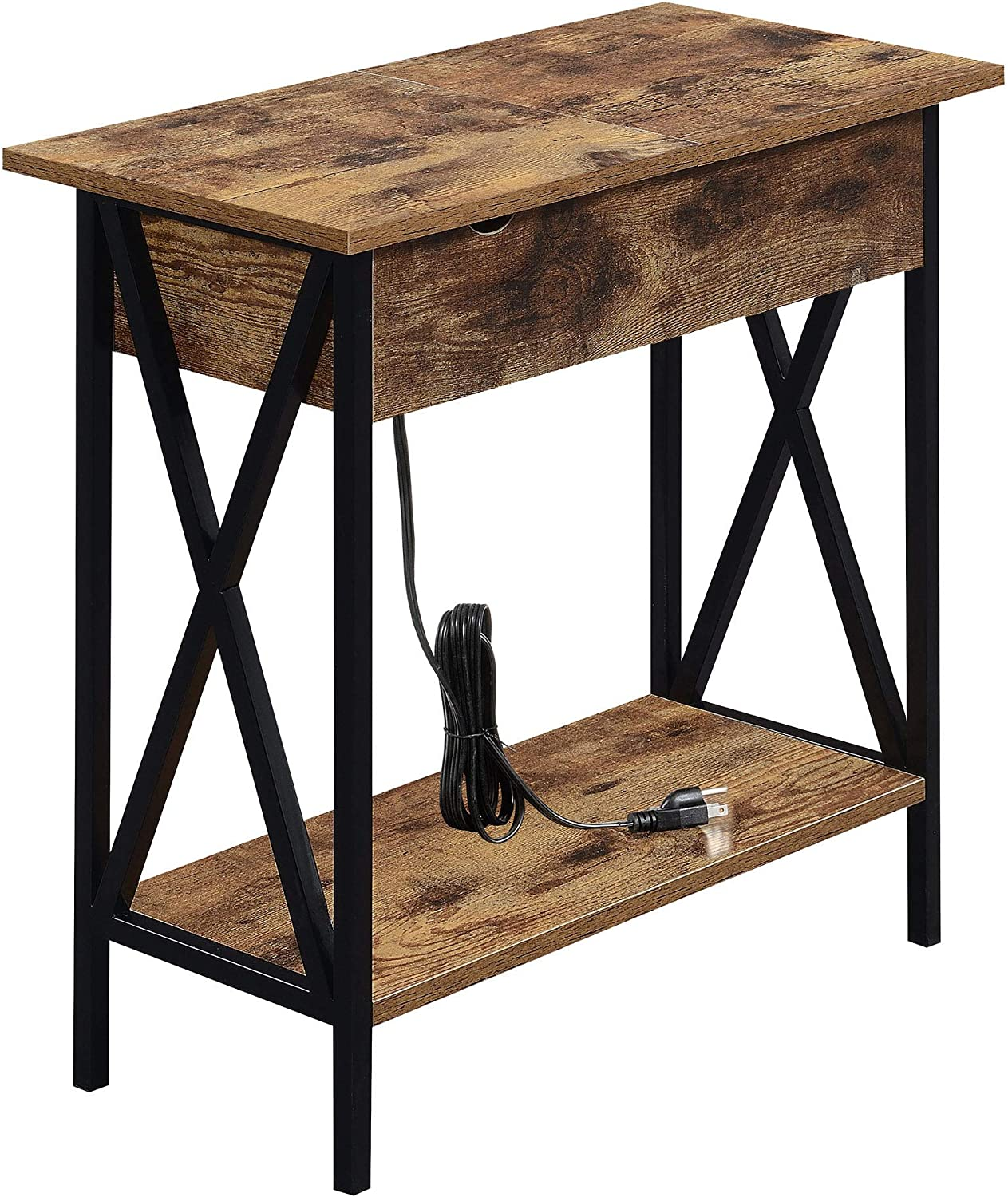 Convenience Concepts Tucson Flip Top End Table with Charging Station, Barnwood / Black