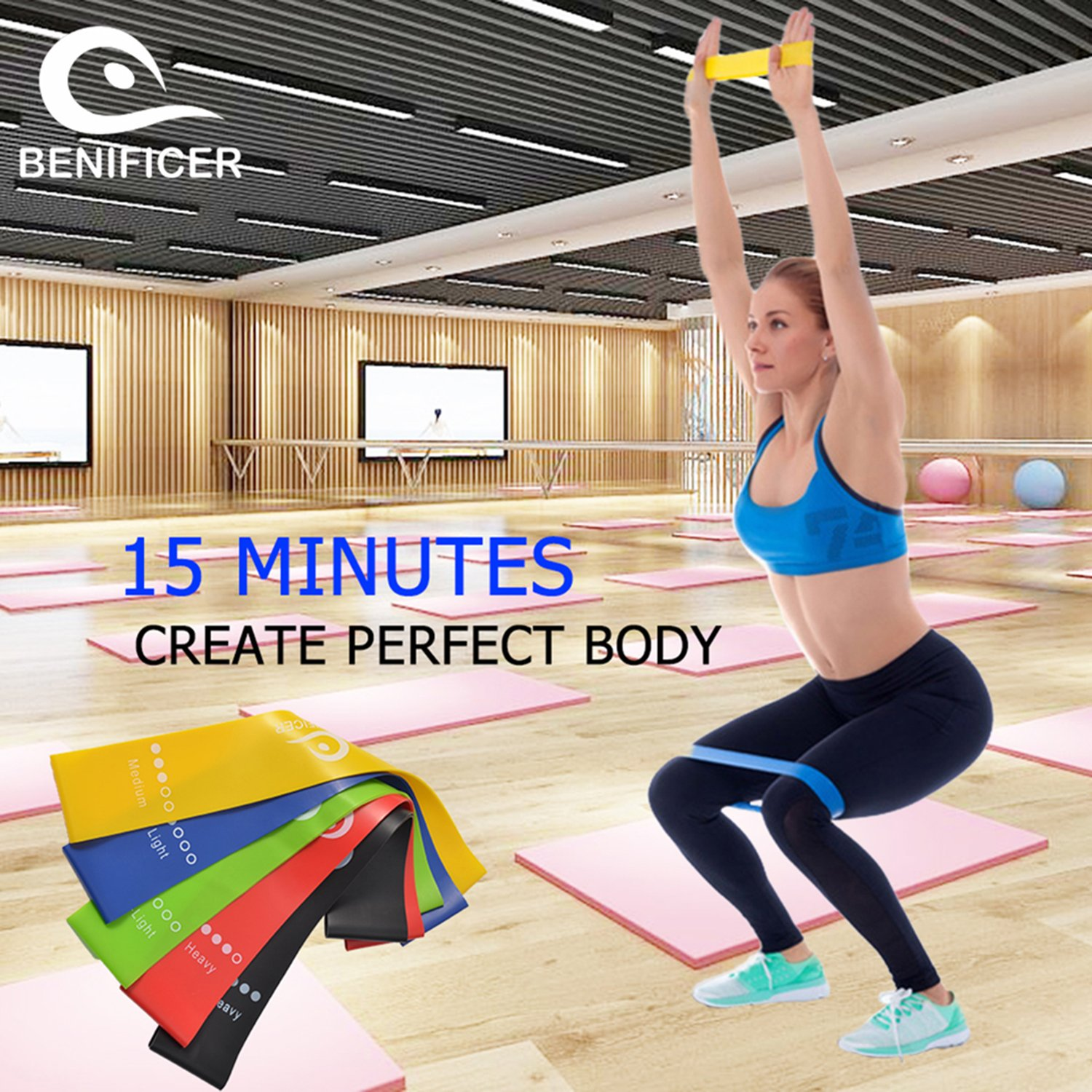 Benificer Core Sliders and Resistance Bands, Set of 5 Exercise Loop Bands with Set of 2 Double-sided Gliding Discs Workout for Fitness Home GYM Yoga,Pilates,Crossfit with Carry Bag and Instruction by Benificer (Image #4)