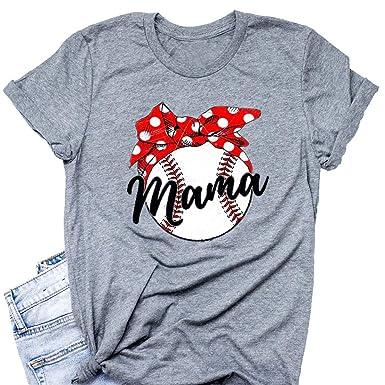 8236da57 Amazon.com: Baseball Mom Shirt Women Bowknot Cute Graphic Tees Softball Mom  Letter Print O-Neck Short Sleeve T-Shirt Tops: Clothing