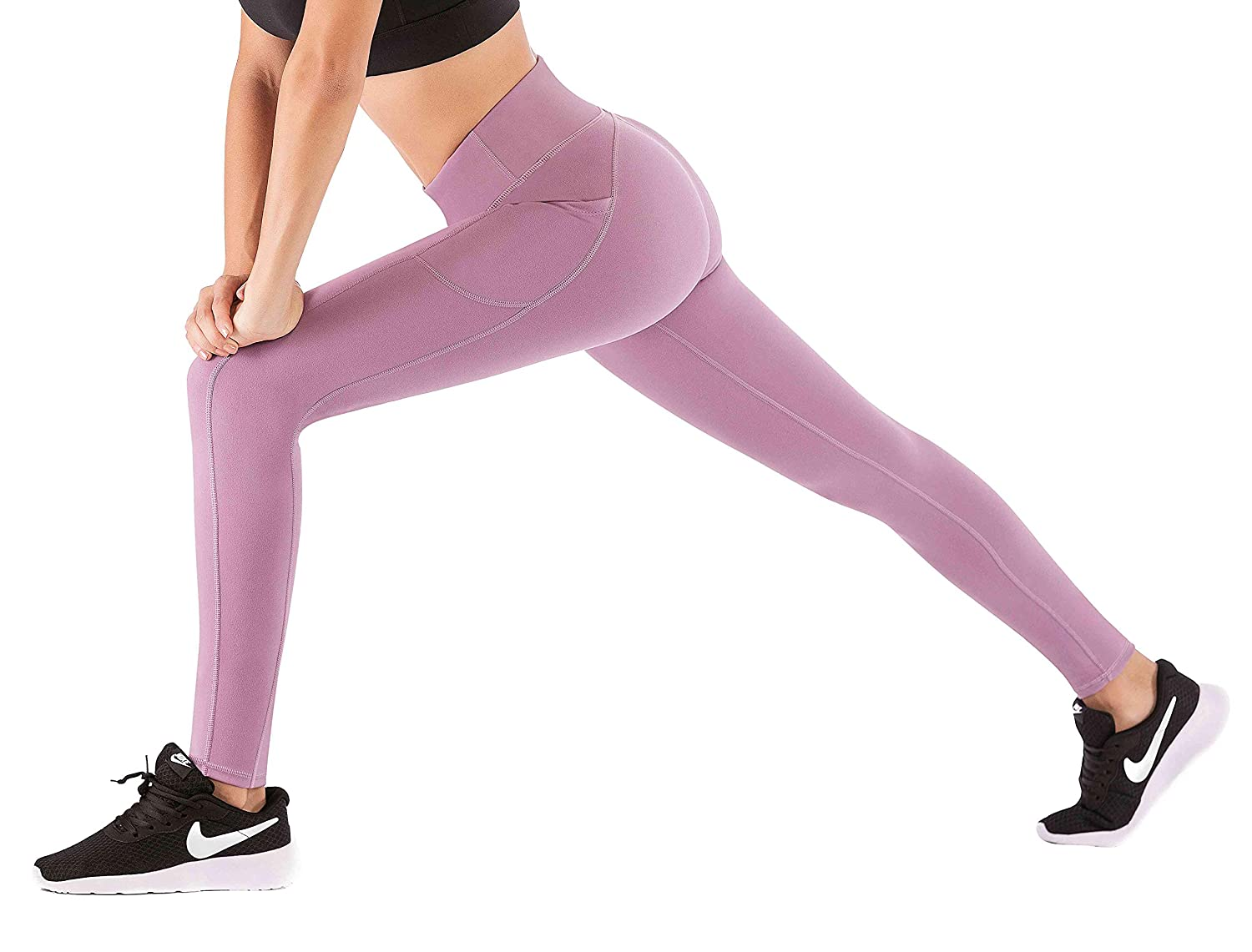 Begonia Pink, X-Large IUGA High Waist Yoga Pants with Pockets Workout Pants for Women 4 Way Stretch Yoga Leggings with Pockets Tummy Control