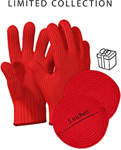 Heat Resistant Oven Gloves with Fingers - 1 Pairs Red Kitchen Oven Mitt Set - Pot Holders Cotton Gloves - Double Oven Kitchen Glove - Limited Collection Red- Round Cotton Mats