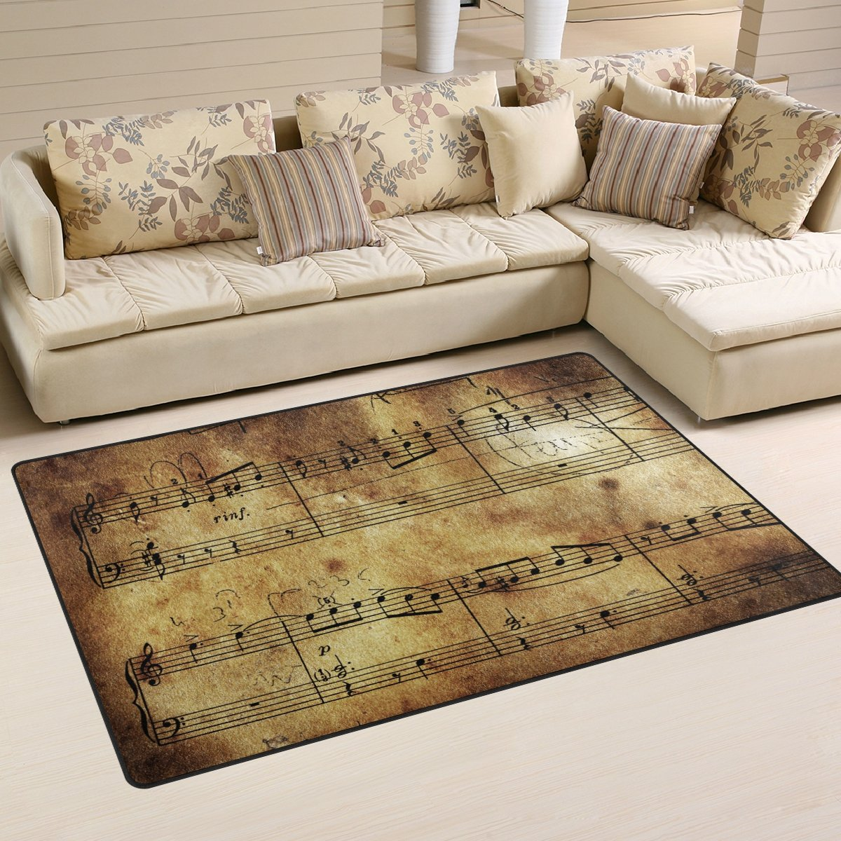 Naanle Music Area Rug 3 x5 , Vintage Retro Music Note Polyester Area Rug Mat for Living Dining Dorm Room Bedroom Home Decorative
