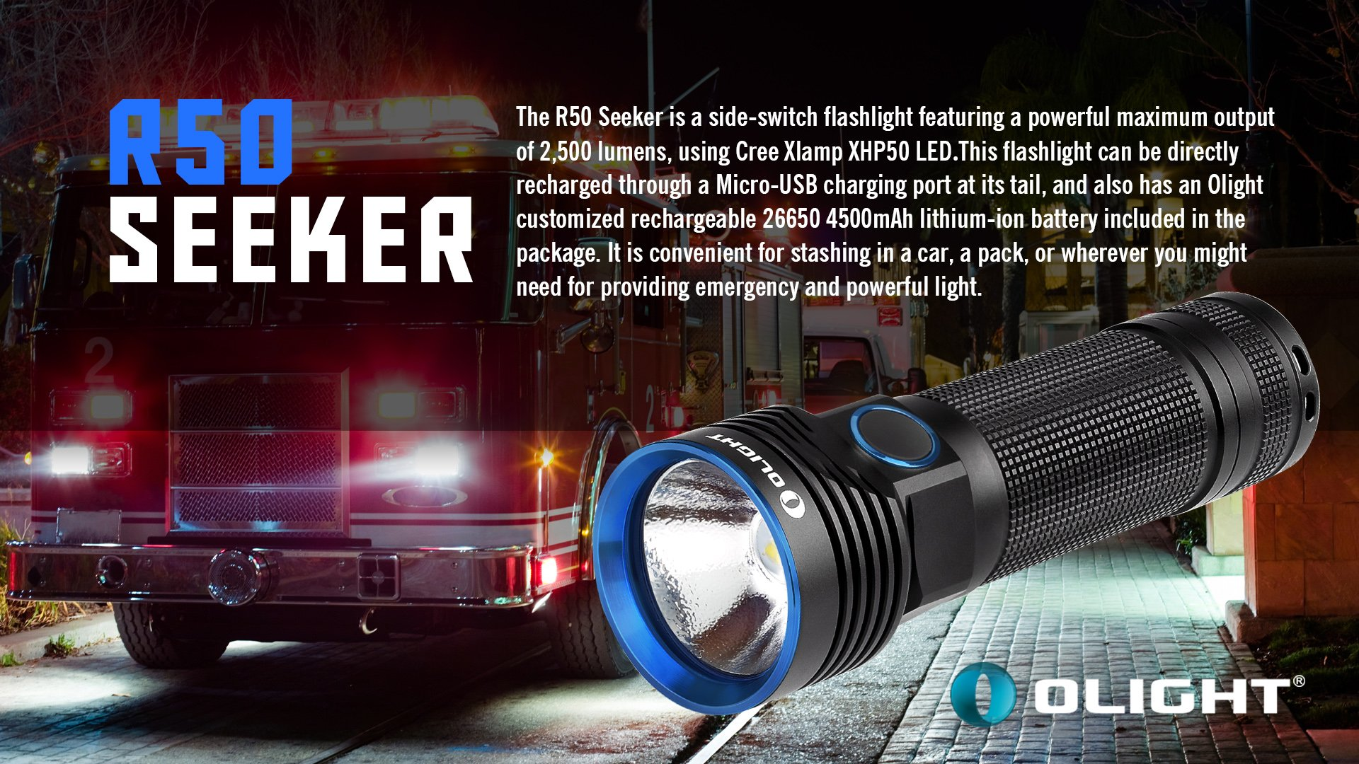 Bundle: Olight R50 Seeker Cree XLamp XHP50 LED 2500 Lumens Rechargeable Flashlight With Rechargeable 26650 4500mAh Battery+Skyben Holster and USB Light by Olight (Image #4)