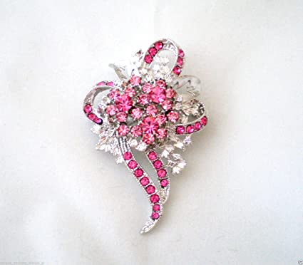 Amazon rose pink crystal breast cancer awareness ribbon flower rose pink crystal breast cancer awareness ribbon flower pin brooch scarf clips corsage jewelry for woman mightylinksfo