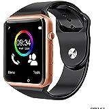 Smartwatch A1 Relógio Inteligente Bluetooth Gear Chip Android iOS Touch Faz e atende ligações SMS Pedômetro Câmera - DOURADO/PRETO
