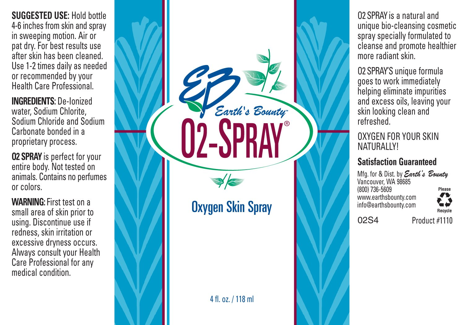 Earth's Bounty O2 Spray 4 fl oz. by Earth's Bounty