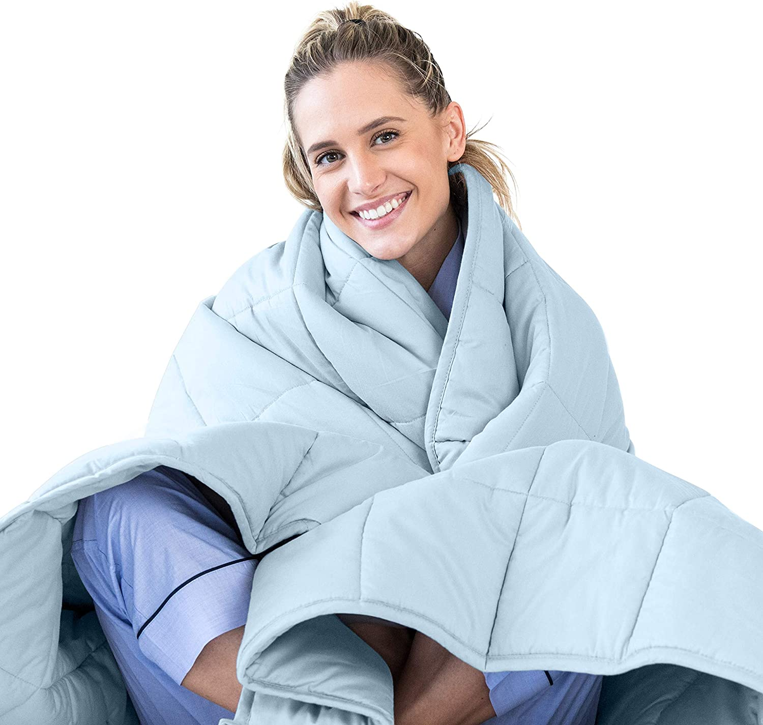 LUNA Adult Weighted Blanket | Individual Use - 15 lbs - 60x80 - Queen Size Bed | 100% Oeko-Tex Certified Cooling Cotton & Glass Beads | USA Designed | Heavy Cool Weight | Light Blue