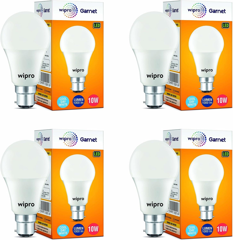 Wipro Garnet Base B22 10-Watt LED Bulb (Pack of 4, Cool Day White)