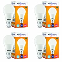 Wipro Garnet Base B22 10-Watt LED Bulb (Pack of 4, Cool Day Light)
