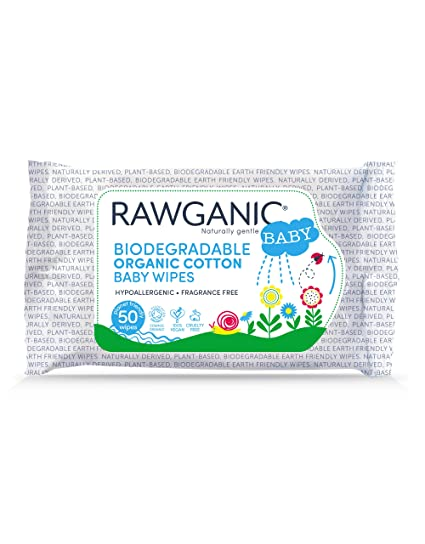 with Aloe Vera Extract Box of 12 Packs Hypoallergenic Fragrance-Free Moist Wipes for Nappy Change Rawganic Gentle Biodegradable Organic Cotton Baby Wipes Face and Body Cleansing
