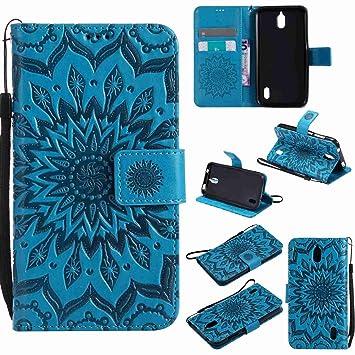 pinlu® Flip Funda de Cuero para Huawei Y625 Carcasa con Función de Stent y Ranuras con Patrón de Girasol Cover (Azul)