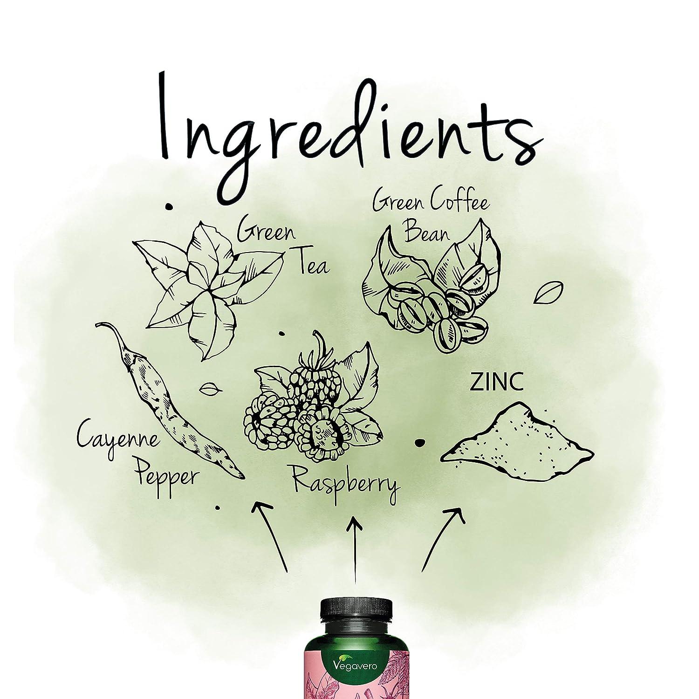 Quemagrasas NATURAL Vegavero® | Cetonas de Frambuesa + Pimienta Cayena + Té Verde + Cafeína Pura + Zinc | 120 Cápsulas | Quemagrasas Potente Para ...