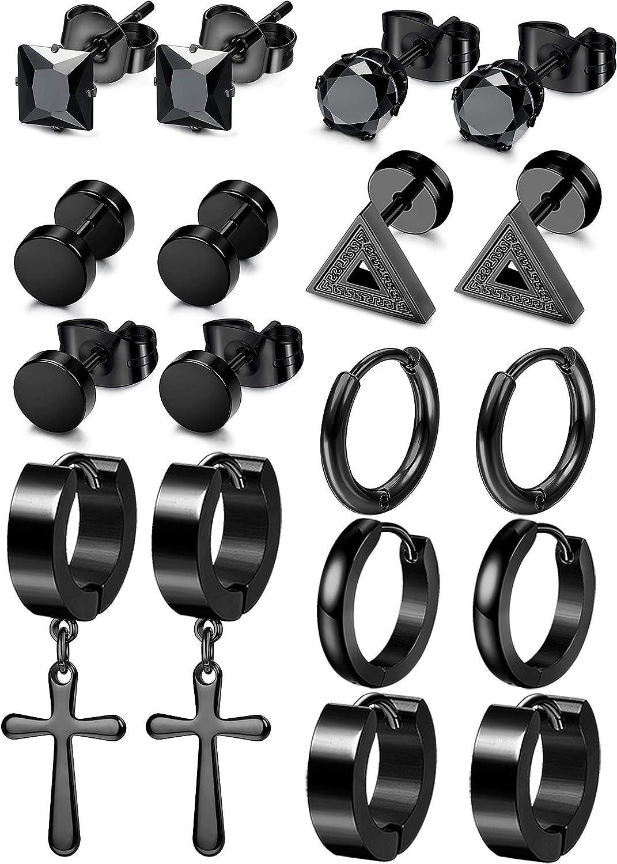 Besteel 9 Pairs Stainless Steel CZ Stud Earrings for Men Women Black Hoop Barbell Triangle Huggie Earrings Piercing Jewelry Set
