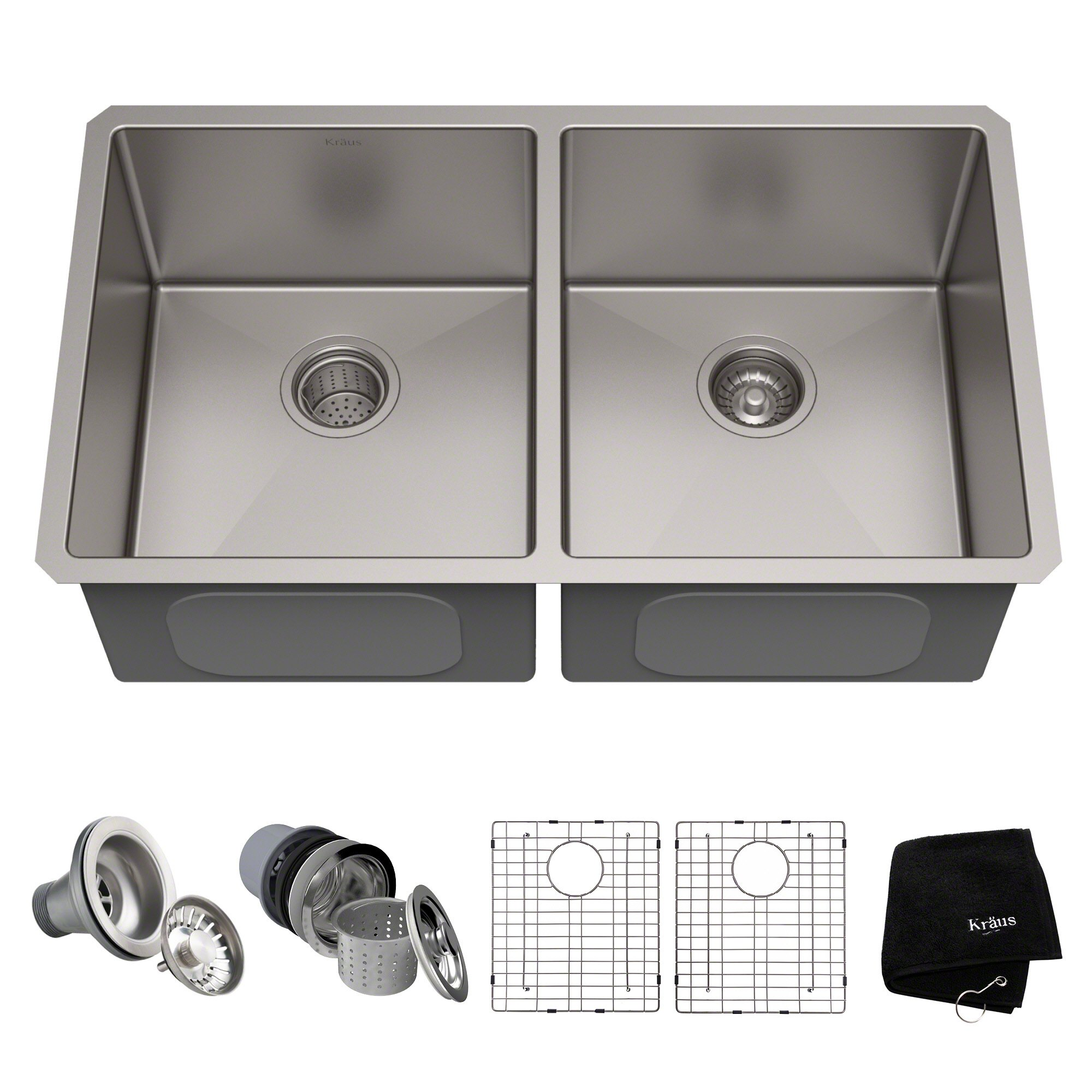 Kraus Standart PRO 33-inch 16 Gauge Undermount 50/50 Double Bowl Stainless Steel Kitchen Sink, KHU102-33 by Kraus