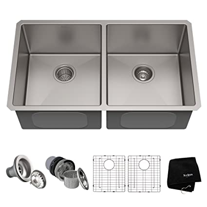 KRAUS Standart PRO 33 Inch 16 Gauge Undermount 50/50 Double Bowl Stainless  Steel