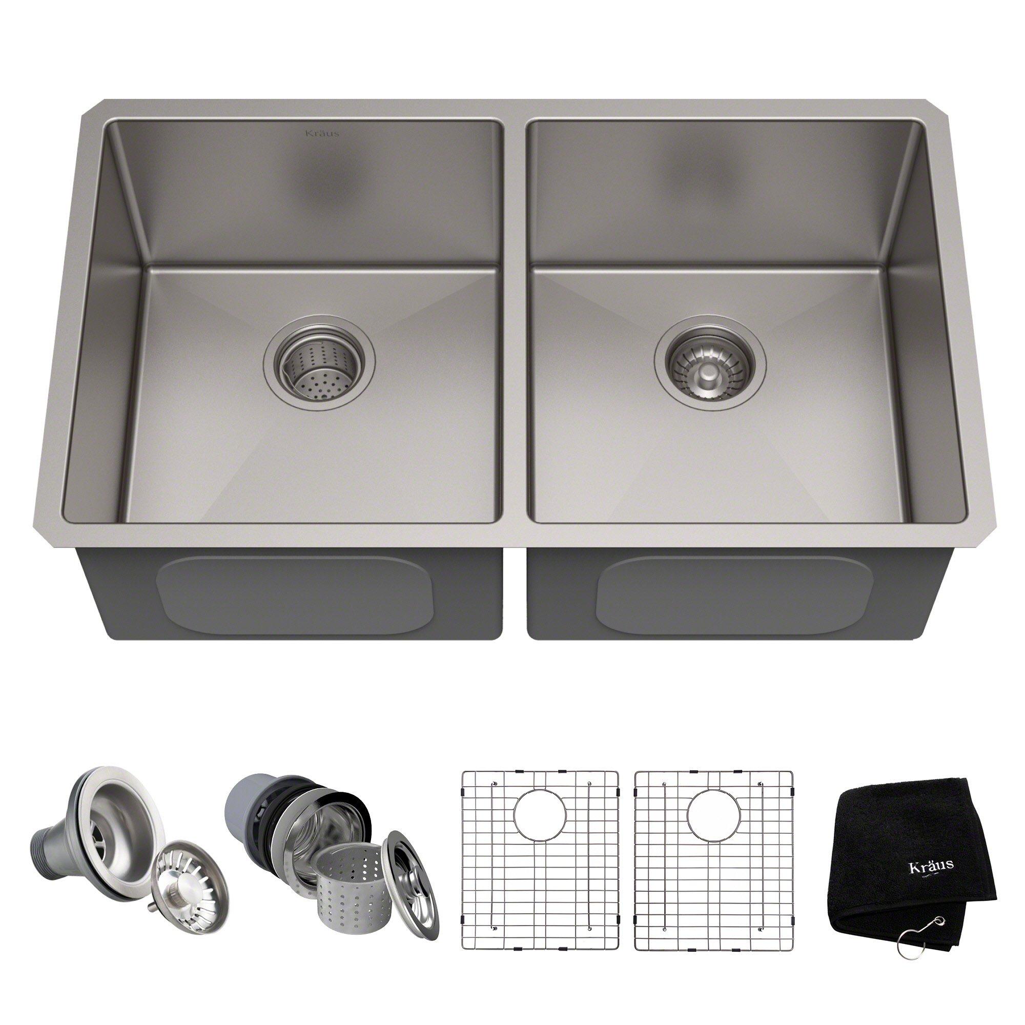 Kraus Standart PRO 33-inch 16 Gauge Undermount 50/50 Double Bowl Stainless Steel Kitchen Sink, KHU102-33
