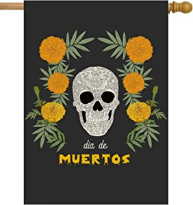 "ShineSnow Mexican Dia De Los Muertos Flower Sugar Skull Skeleton House Flag 28"" x 40"" Double Sided Polyester Welcome Yard Garden Flag Banners for Patio Lawn Home Outdoor Decor"
