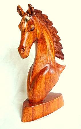 Chevaux cheval buste tête de cheval en bois sculpture statue en bois sculpté à la main