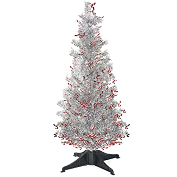 Yuqi 5 Ft Pop Up Artificial Tinsel Trees Collapsible With Stand Reusable For Christmas