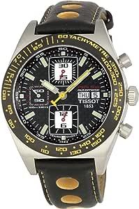 Tissot T91.1.427.81 Mens Quartz Watch, Analog Display and Leather Strap, Black