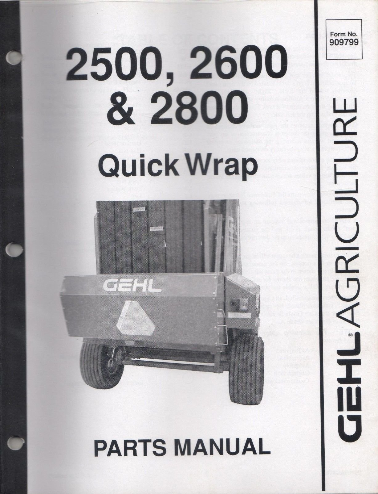 2002 GEHL AGRICULTURE 2500, 2600, 2800 QUICK WRAP p/n 909799 PARTS MANUAL  (259): Gehl: Amazon.com: Books