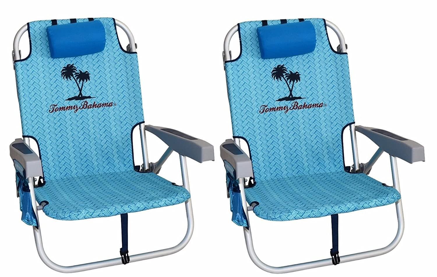 Backpack cooler chair - Amazon Com 2 Tommy Bahama 2016 Backpack Cooler Chair With Storage Pouch And Towel Bar Blue Weave Blue Weave Sports Outdoors