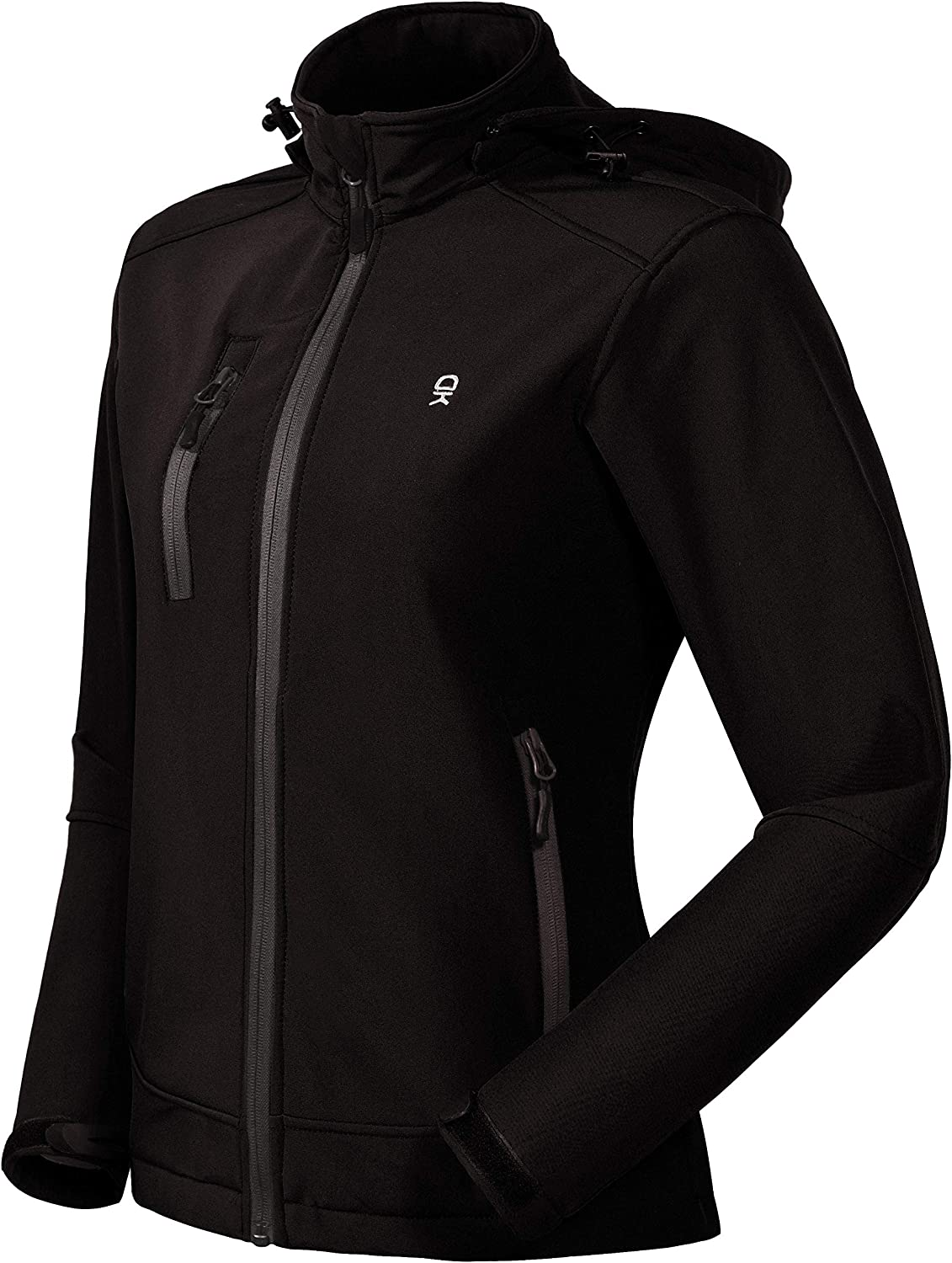 Little Donkey Andy Women's Softshell Jacket with Removable Hood, Fleece Lined and Water Repellent: Sports & Outdoors
