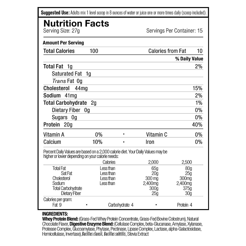 Amazon.com: Hacha de la nutrición Chocolate grass-fed – 20 G ...