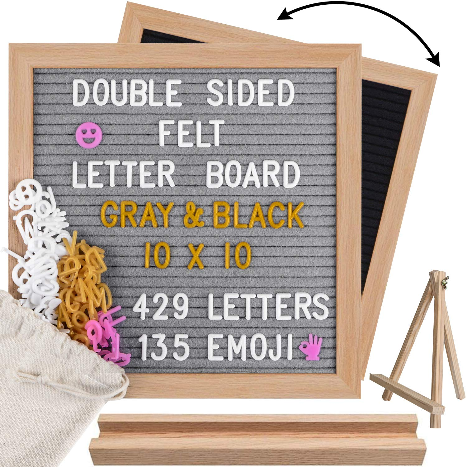Double Sided Felt Letter Board 10x10, Gray/Black Changeable Sign Message Board, 564 Precut Letters(3 Colors), Wood Frame Word Board with 2 Stands by Board2by