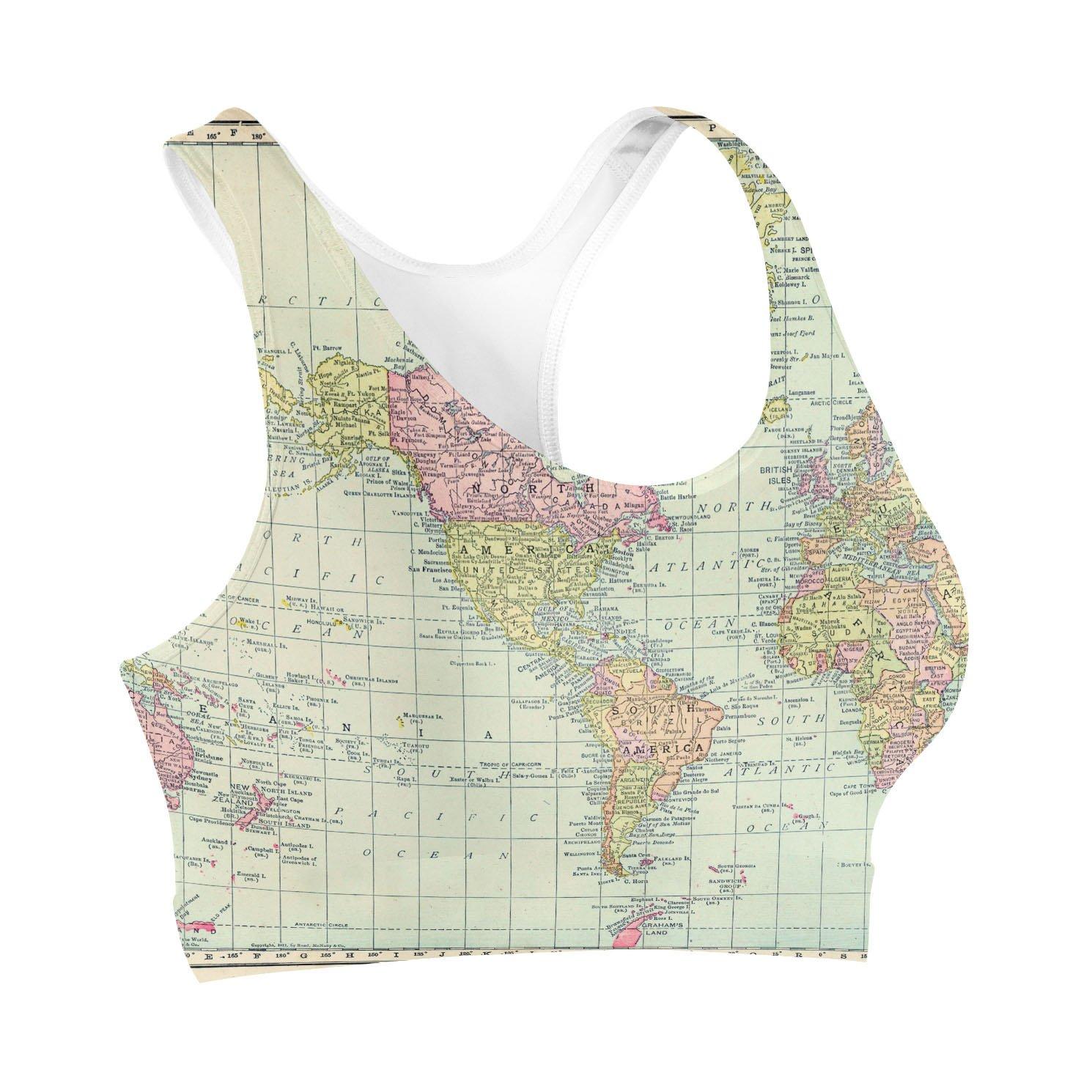 Antique World Map 1913 Sports Bra at Amazon Women\'s Clothing store: