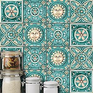 HyFanStr 10 Pcs Moroccan Style Tile Sticker Backsplash Peel & Stick Kitchen Tile Decal, 8x8 Inches.