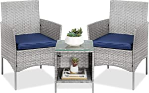 Best Choice Products 3-Piece Outdoor Wicker Conversation Bistro Set, Patio Furniture for Yard, Garden w/ 2 Chairs, 2 Cushions, Side Storage Table - Gray/Navy