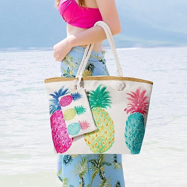 Sac de Plage Vacances Fourre-Tout Grand Avec Zip, Sac de Shopping Sac fourre-tout à la plage Pour Femme et Filles